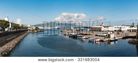 Ponta Delgada, São Miguel Island, Azores - August 31 2019: Panorama Of Boats Moored In The Harbour W