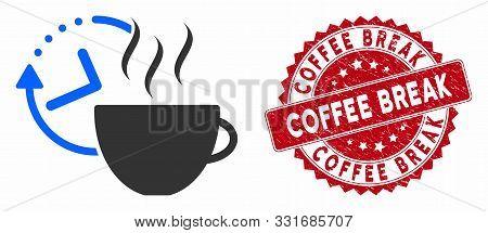 Vector Coffee Break Icon And Rubber Round Stamp Seal With Coffee Break Text. Flat Coffee Break Icon