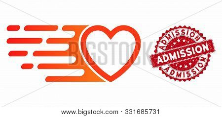 Vector Rush Love Heart Icon And Rubber Round Stamp Seal With Admission Text. Flat Rush Love Heart Ic