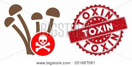 Vector fungicide icon and grunge round stamp seal with Toxin phrase. Flat fungicide icon is isolated on a white background. Toxin stamp uses red color and grunge surface. poster
