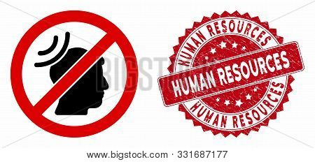 Vector No Telepathy Waves Icon And Rubber Round Stamp Seal With Human Resources Caption. Flat No Tel