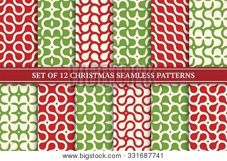 Set Of Vector Seamless Geometric Colorful Patterns. Christmas Bright Endless Backgrounds - Retro Sty