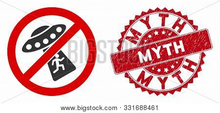 Vector No Ufo Abduction Icon And Rubber Round Stamp Seal With Myth Caption. Flat No Ufo Abduction Ic
