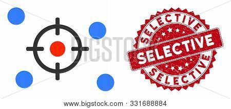 Vector Selective Icon And Corroded Round Stamp Watermark With Selective Phrase. Flat Selective Icon