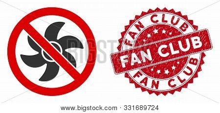 Vector No Rotor Icon And Grunge Round Stamp Seal With Fan Club Caption. Flat No Rotor Icon Is Isolat