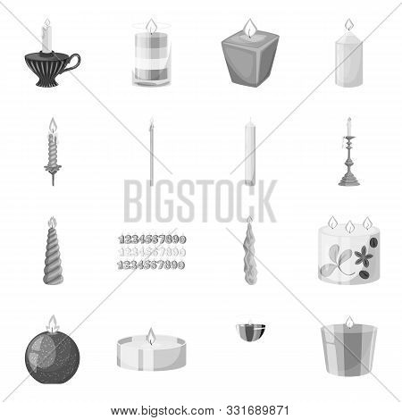 Isolated Object Of Paraffin And Fire Symbol. Collection Of Paraffin And Decoration Stock Vector Illu