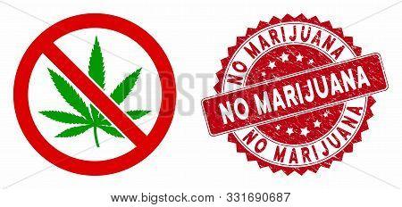 Vector No Marijuana Icon And Grunge Round Stamp Seal With No Marijuana Text. Flat No Marijuana Icon