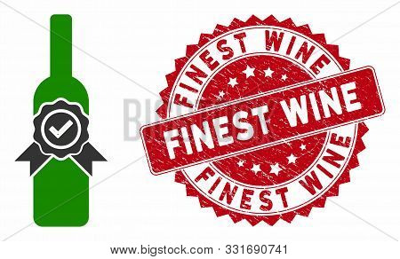 Vector Finest Wine Icon And Grunge Round Stamp Seal With Finest Wine Caption. Flat Finest Wine Icon