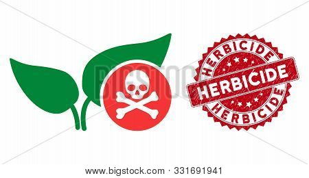Vector Herbicide Icon And Corroded Round Stamp Seal With Herbicide Text. Flat Herbicide Icon Is Isol