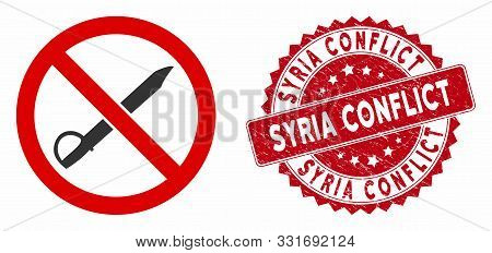 Vector No Cold Weapon Icon And Corroded Round Stamp Watermark With Syria Conflict Caption. Flat No C