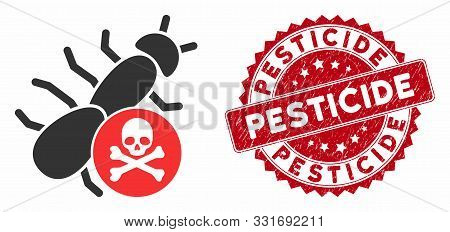 Vector Pesticide Icon And Rubber Round Stamp Watermark With Pesticide Phrase. Flat Pesticide Icon Is