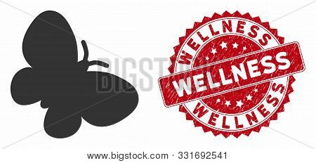 Vector Butterfly Icon And Corroded Round Stamp Seal With Wellness Caption. Flat Butterfly Icon Is Is