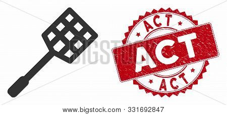 Vector Racket Icon And Rubber Round Stamp Seal With Act Caption. Flat Racket Icon Is Isolated On A W