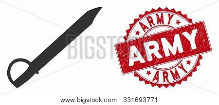 Vector Saber Icon And Rubber Round Stamp Seal With Army Caption. Flat Saber Icon Is Isolated On A Wh