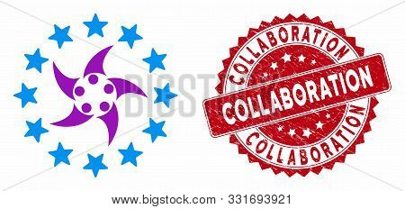 Vector Europeans Collaboration Icon And Grunge Round Stamp Watermark With Collaboration Caption. Fla