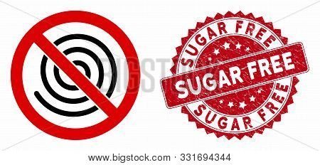 Vector No Spiral Icon And Rubber Round Stamp Seal With Sugar Free Text. Flat No Spiral Icon Is Isola