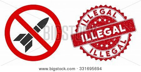 Vector No Rockets Icon And Grunge Round Stamp Seal With Illegal Text. Flat No Rockets Icon Is Isolat