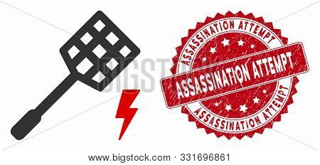 Vector Electric Fly Killer Icon And Distressed Round Stamp Seal With Assassination Attempt Caption.