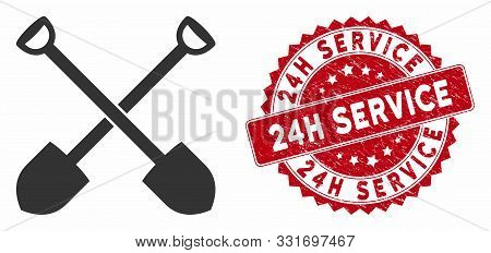 Vector Shovels Icon And Rubber Round Stamp Seal With 24h Service Caption. Flat Shovels Icon Is Isola
