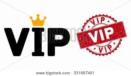 Vector Vip Icon And Rubber Round Stamp Seal With Vip Text. Flat Vip Icon Is Isolated On A White Back