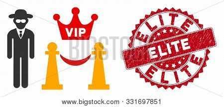 Vector Vip Access Icon And Distressed Round Stamp Seal With Elite Phrase. Flat Vip Access Icon Is Is