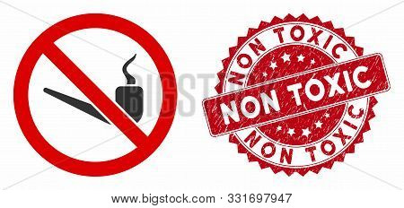 Vector No Smoking Pipe Icon And Grunge Round Stamp Seal With Non Toxic Caption. Flat No Smoking Pipe