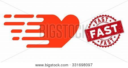 Vector Fast Love Icon And Grunge Round Stamp Watermark With Fast Caption. Flat Fast Love Icon Is Iso