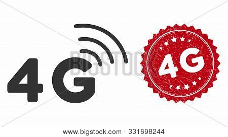 Vector 4g Icon And Rubber Round Stamp Seal With 4g Caption. Flat 4g Icon Is Isolated On A White Back