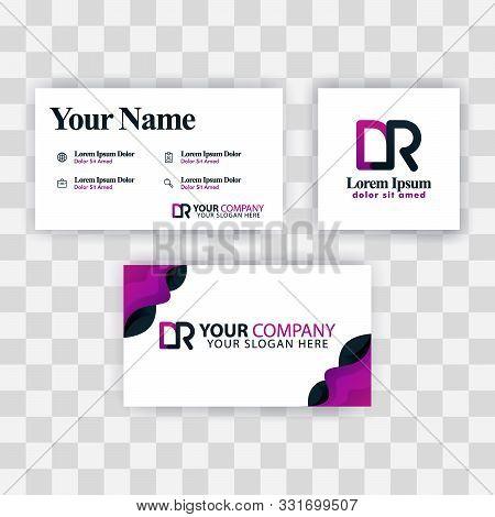 Clean Business Card Template Concept. Vector Purple Modern Creative. Rd Letter Logo Minimal Gradient