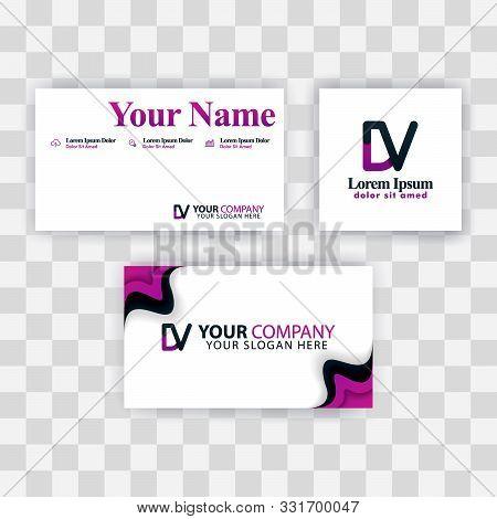 Clean Business Card Template Concept. Vector Purple Modern Creative. Vd Letter Logo Minimal Gradient
