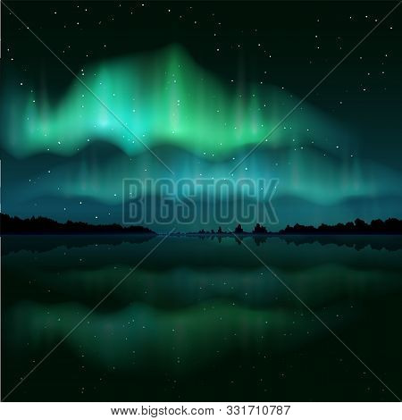 Northern Lights, Aurora Borealis, Vector Realistic Illustration