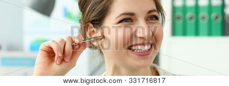 Portrait Of Cheerful Wonderful Businesswoman In Conference Room. Woman Attending Business Meeting In