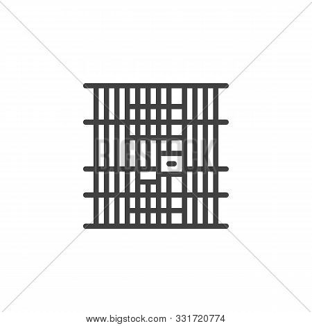 Prison Jail Line Icon. Linear Style Sign For Mobile Concept And Web Design. Locked Jail Door Outline