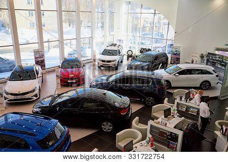 Kirov, Russia - March 07, 2019: Cars In Showroom Of Dealership Kia In Kirov In 2019