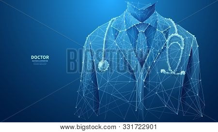A Closeup Of A Young Doctor In Medical Lab Coat With A Stethoscope. Abstract Vector Low Poly Wirefra