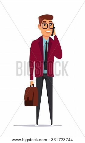 Businessman Flat Vector Illustration. Man Wearing Glasses On Formal Clothes Talking On Phone Clipart