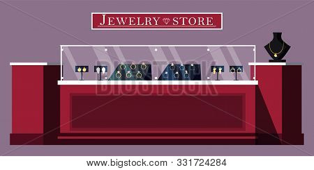 Jewelry Store Showcase Flat Vector Illustration. Jewels Shop Banner Template. Bijouterie And Gems Bo