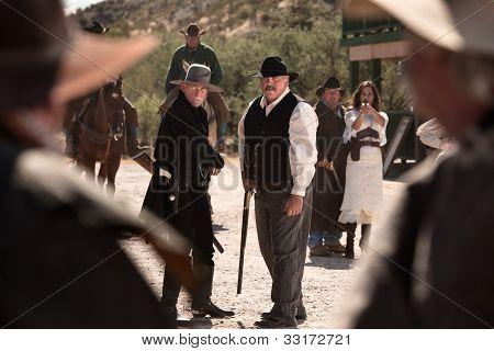 Cowboys Battle In Street