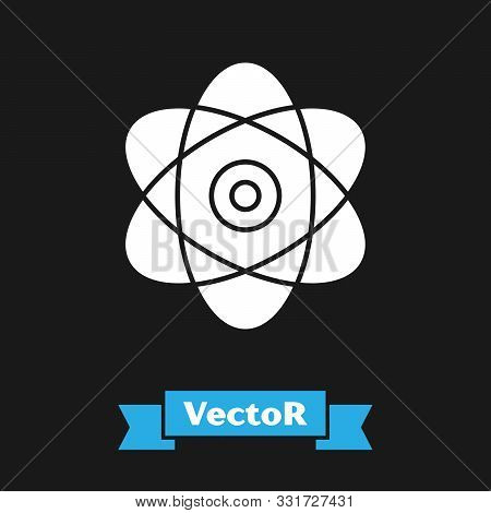 White Atom Icon Isolated On Black Background. Symbol Of Science, Education, Nuclear Physics, Scienti