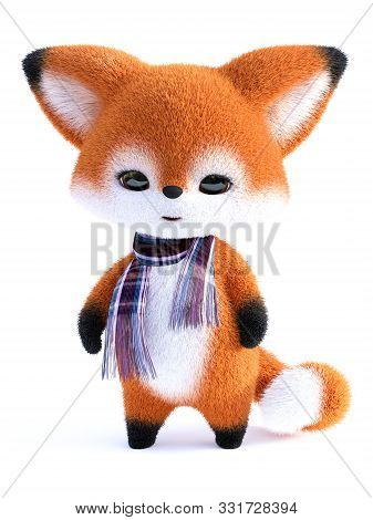 3d Rendering Of An Adorable Cute Happy Furry Cartoon Fox Standing And Wearing A Scarf. White Backgro