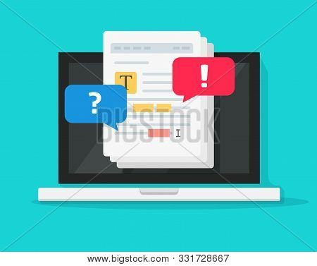Text Document Editing Together On Computer Vector, Flat Cartoon Laptop With Shared File Collaborated