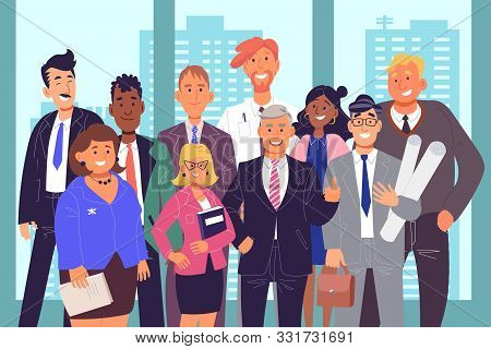 Group Of Coworkers, Teamwork Concept. Office Workers Posing For Photo Together, Businesspeople In Su
