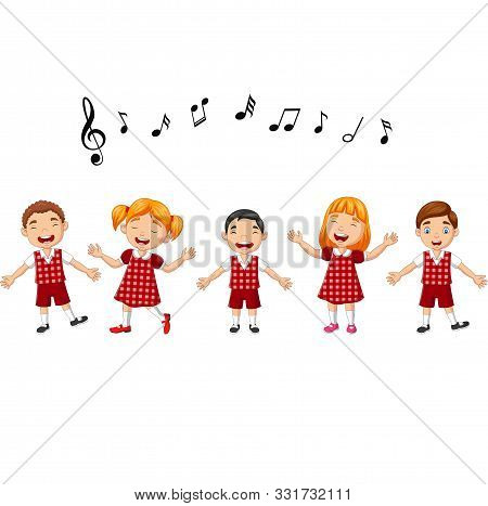 Vector Illustration Of Cartoon Group Of Children Singing In The School Choir