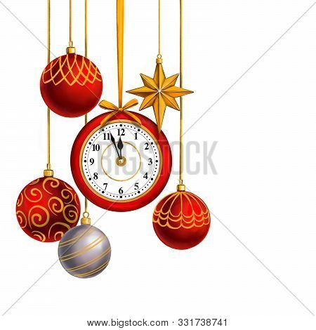 Clock And Christmas Decorations, Decorative Christmas Ornament, Art Illustration Painted With Waterc