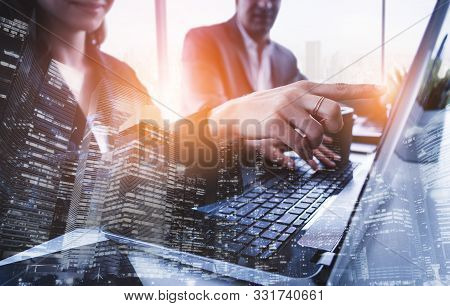 Double Exposure Image Of Business Group Meeting