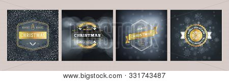 Set Of Christmas Greeting Card Templates. Vintage Typographic Badges, Labels. Christmas Snowflakes B