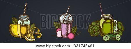 Smothie Sets Of Lemons, Broccoli, Radish, Basil, Smoothie Cup, Smothie Jars Cucumber Stock Illustrat