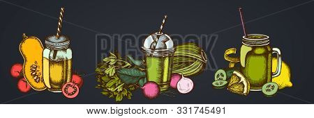 Smothie Sets Of Lemons, Radish, Cherry Tomatoes, Pumpkin, Smoothie Cup, Smothie Jars, Cucumber Celer
