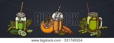 Smothie Sets Of Broccoli, Green Beans, Carrot, Calendula, Pumpkin, Smoothie Cup, Smothie Jars Cucumb