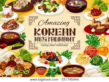 Korean Delicious National Dishes Of National Cuisine. Vector Beef Ribs In Pot Of Radish, Tricolor Sa